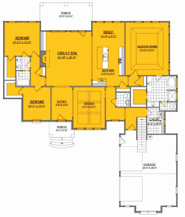 Ranch Floor Plan - Main Floor Plan Plan #1071-11