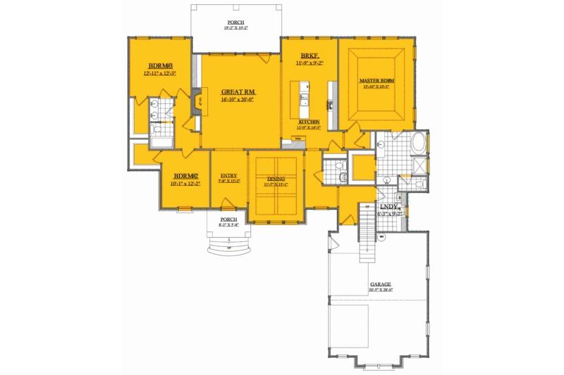 Ranch Floor Plan - Main Floor Plan Plan #1071-11