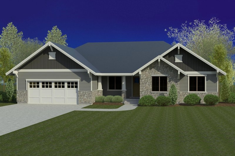 Craftsman Style House Plan - 5 Beds 3.5 Baths 3523 Sq/Ft Plan #920-38 Exterior - Front Elevation