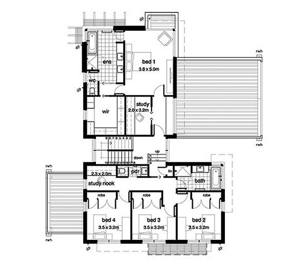 Modern Style House Plan - 4 Beds 2.5 Baths 3389 Sq/Ft Plan #496-17 Floor Plan - Upper Floor Plan