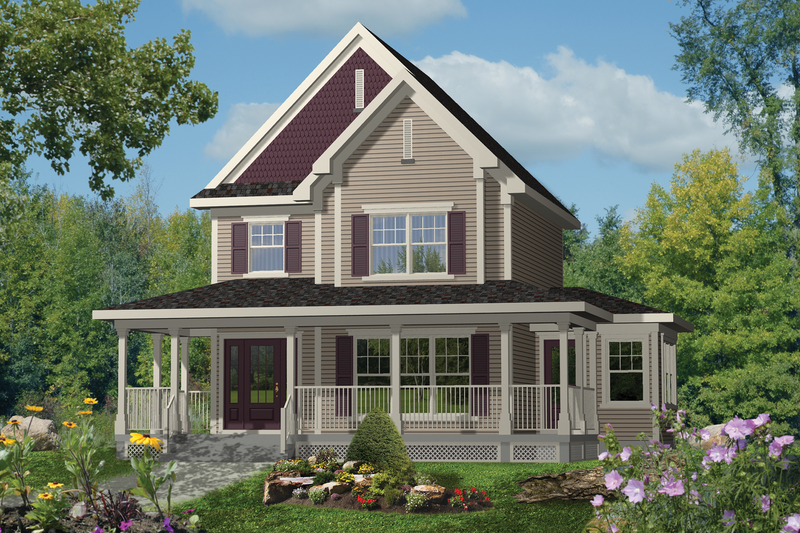 Country Style House Plan - 3 Beds 1 Baths 1541 Sq/Ft Plan #25-4494 Exterior - Front Elevation
