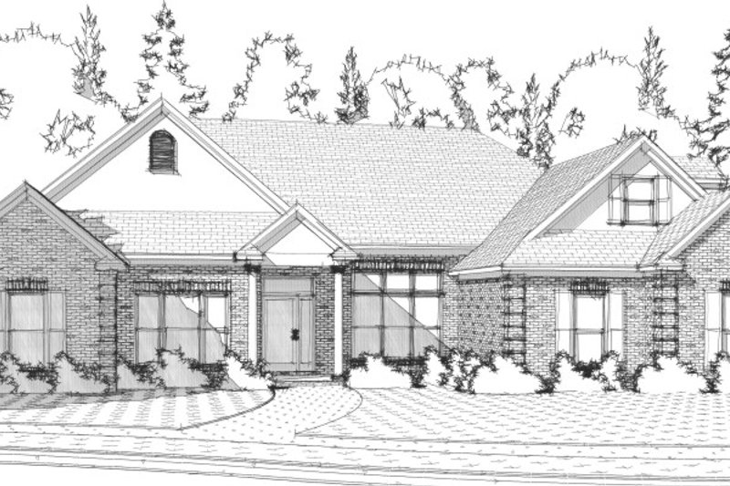 Traditional Style House Plan - 4 Beds 3.5 Baths 2346 Sq/Ft Plan #63-203 Exterior - Front Elevation