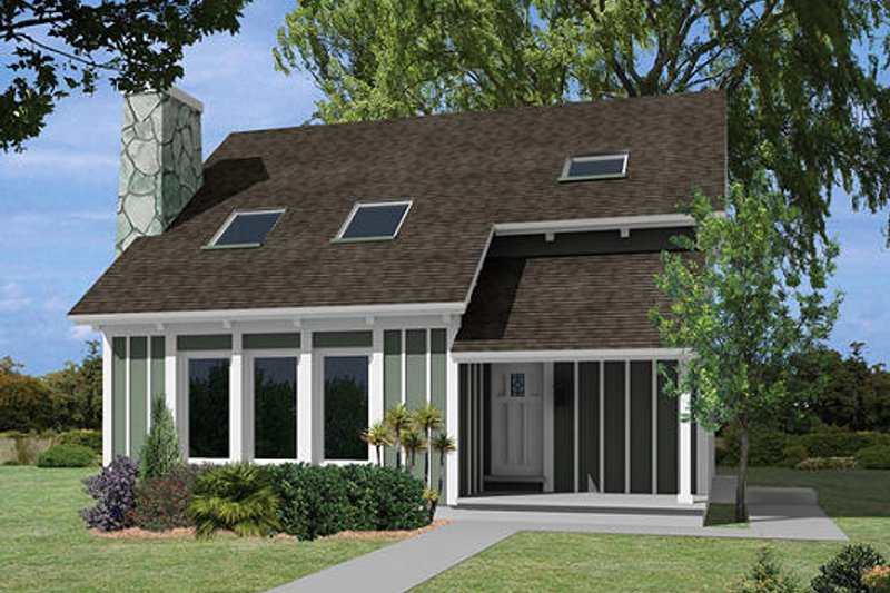 Contemporary Style House Plan - 2 Beds 1.5 Baths 1278 Sq/Ft Plan #57-255 Exterior - Front Elevation