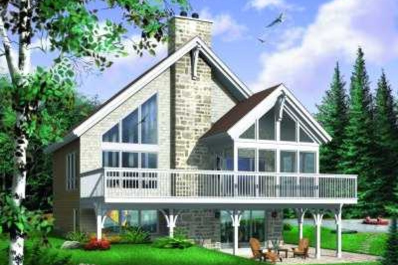 Cabin Style House Plan - 4 Beds 2 Baths 2105 Sq/Ft Plan #23-392 Exterior - Front Elevation