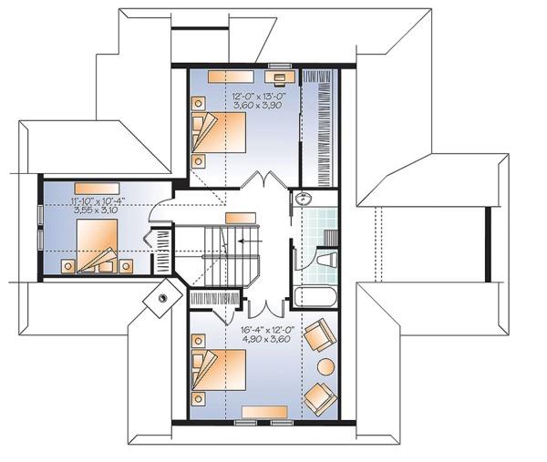 European Floor Plan - Upper Floor Plan Plan #23-2628