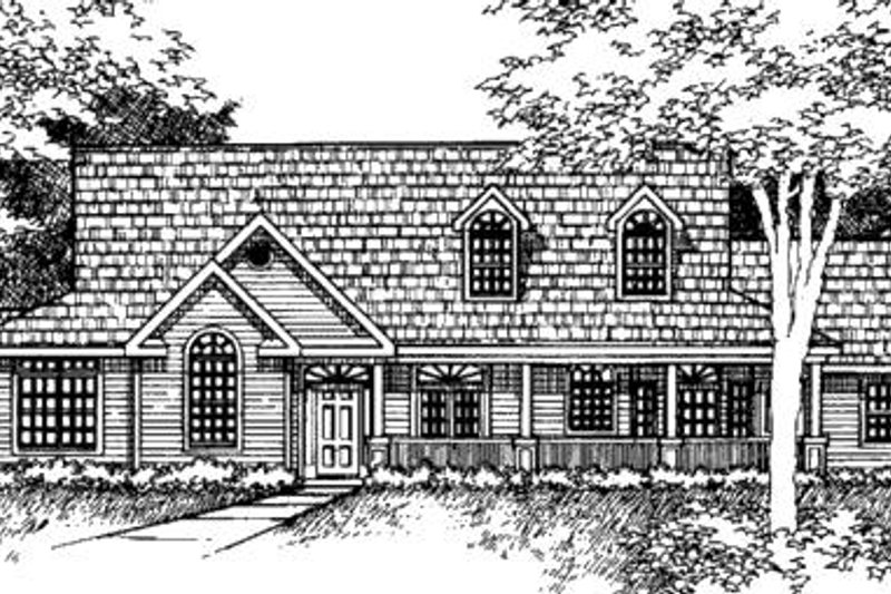 Country Exterior - Front Elevation Plan #320-424
