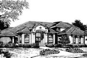 European Style House Plan - 4 Beds 4.5 Baths 4496 Sq/Ft Plan #135-112 Exterior - Front Elevation