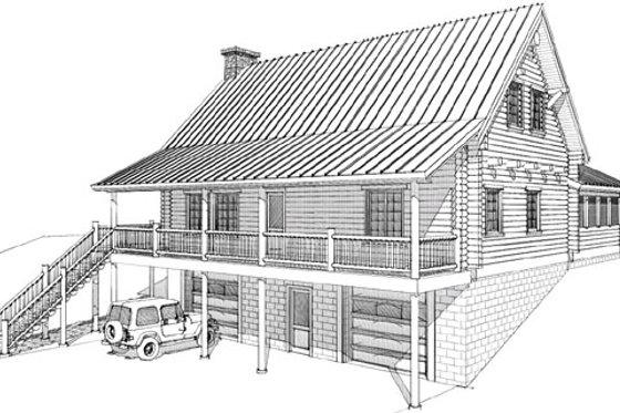 Log Exterior - Front Elevation Plan #451-5