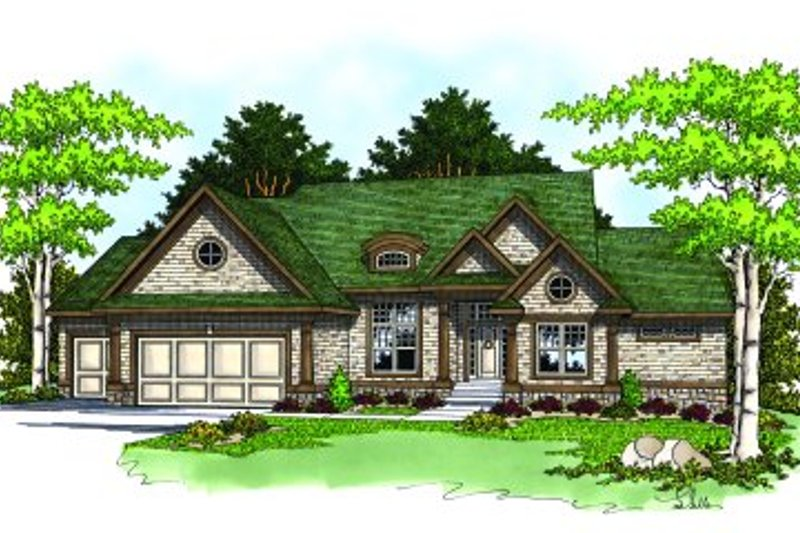 Traditional Style House Plan - 2 Beds 2 Baths 3668 Sq/Ft Plan #70-356 Exterior - Front Elevation