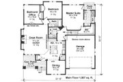 Craftsman Style House Plan - 3 Beds 2 Baths 1807 Sq/Ft Plan #51-519 Floor Plan - Main Floor