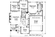 Craftsman Style House Plan - 3 Beds 2 Baths 1807 Sq/Ft Plan #51-519 Floor Plan - Main Floor