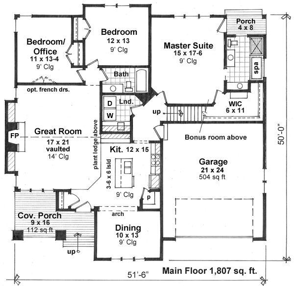 Craftsman Floor Plan - Main Floor Plan Plan #51-519