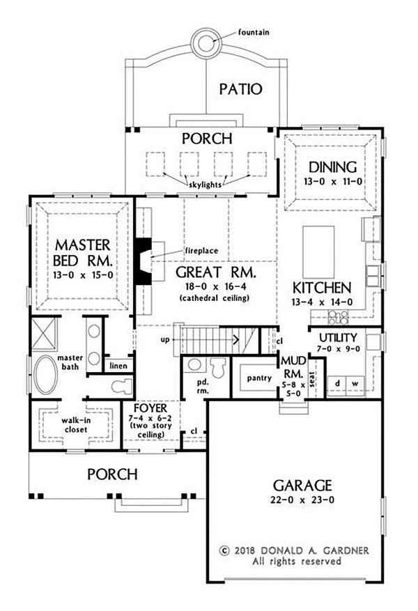 Craftsman Floor Plan - Main Floor Plan Plan #929-1082