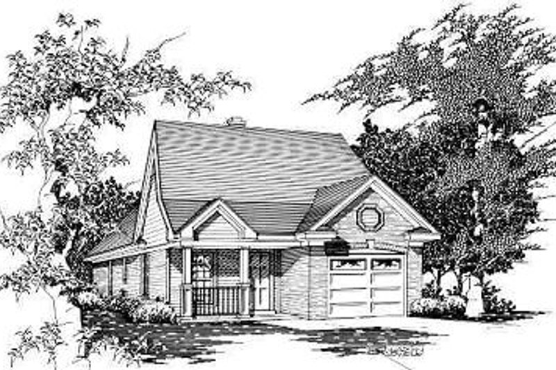 Traditional Style House Plan - 3 Beds 2 Baths 1040 Sq/Ft Plan #329-156 Exterior - Front Elevation