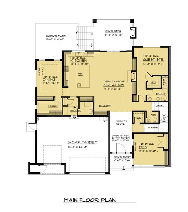 Contemporary Style House Plan - 5 Beds 5.5 Baths 6302 Sq/Ft Plan #1066-56 Floor Plan - Main Floor Plan