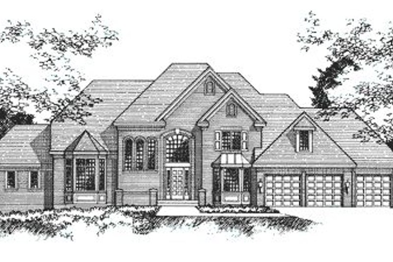 European Style House Plan - 4 Beds 5 Baths 4162 Sq/Ft Plan #51-185 Exterior - Front Elevation