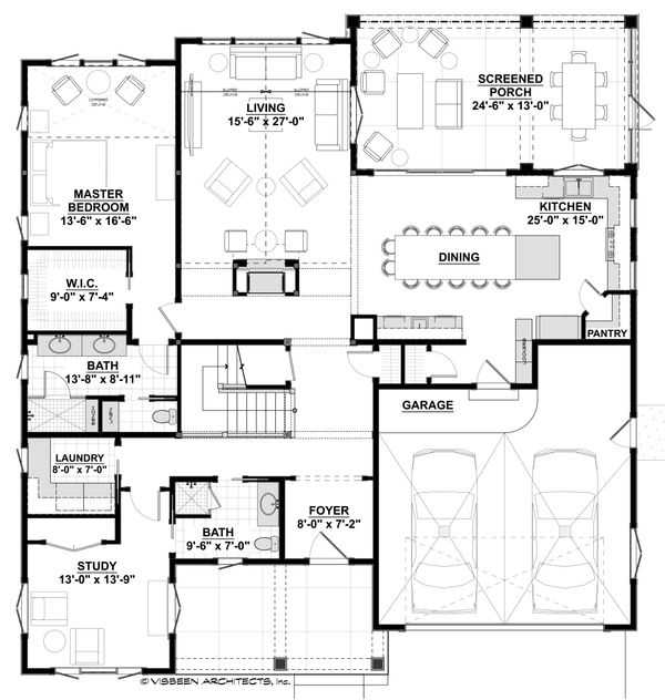 Farmhouse Floor Plan - Main Floor Plan Plan #928-310