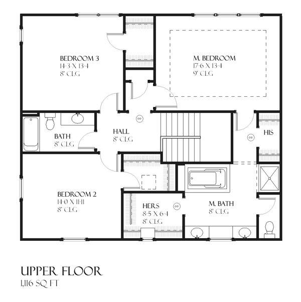Rustic Craftsman style house plan, main level floorplan