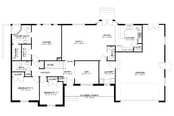 Traditional Floor Plan - Main Floor Plan Plan #1060-63