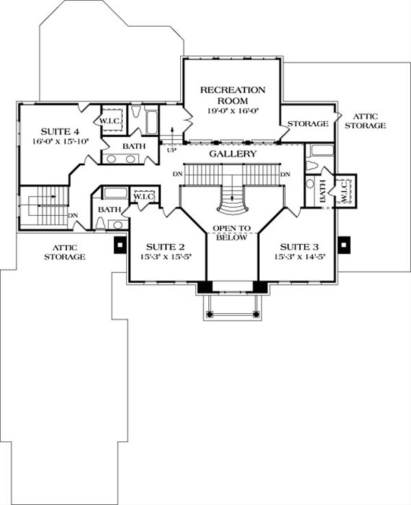 Colonial Floor Plan - Upper Floor Plan Plan #453-27
