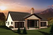 Ranch Style House Plan - 2 Beds 1.5 Baths 1993 Sq/Ft Plan #70-1096 Exterior - Rear Elevation