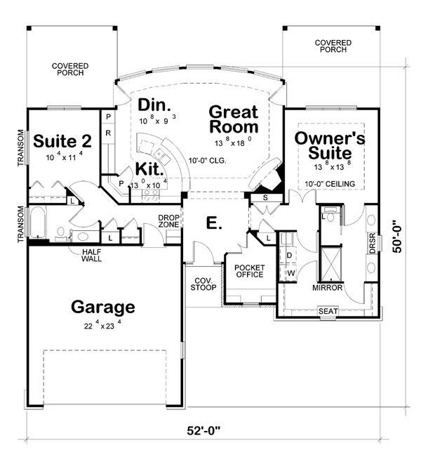 House Plan Design - Craftsman Floor Plan - Main Floor Plan #20-2066