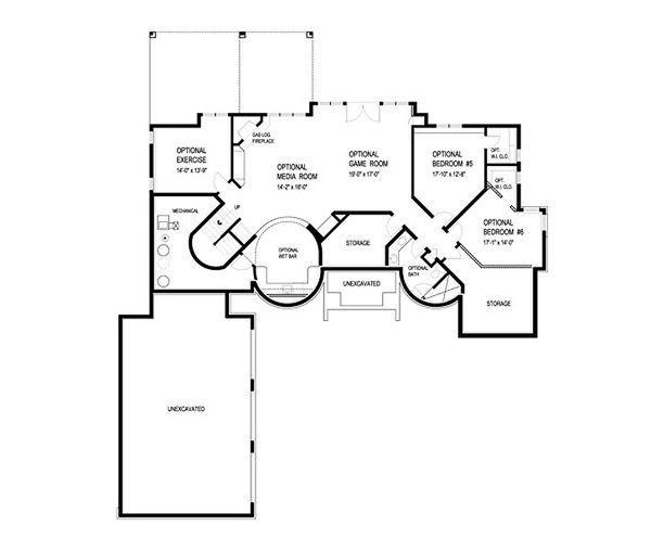 Traditional Floor Plan - Lower Floor Plan Plan #56-595