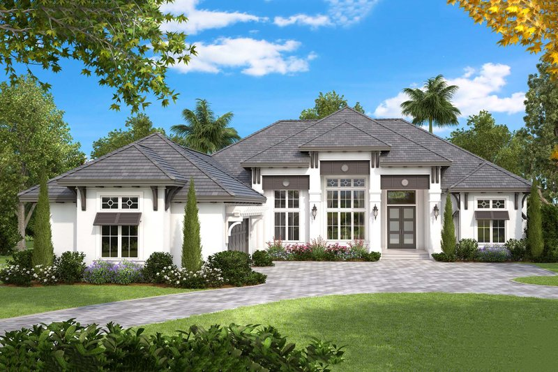 Southern Style House Plan - 4 Beds 3.5 Baths 6095 Sq/Ft Plan #27-554 Exterior - Front Elevation