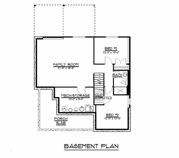 Craftsman Floor Plan - Lower Floor Plan Plan #1064-45