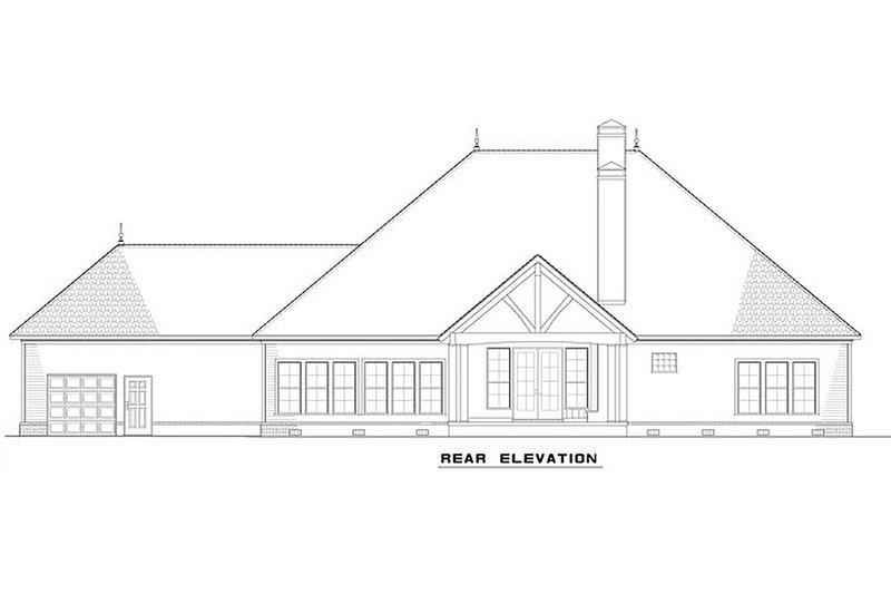 European Exterior - Rear Elevation Plan #17-2539 - Houseplans.com