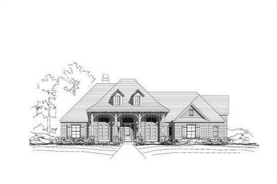 Ranch Exterior - Front Elevation Plan #411-513