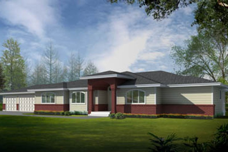 Ranch Style House Plan - 4 Beds 4 Baths 4453 Sq/Ft Plan #100-456 Exterior - Front Elevation