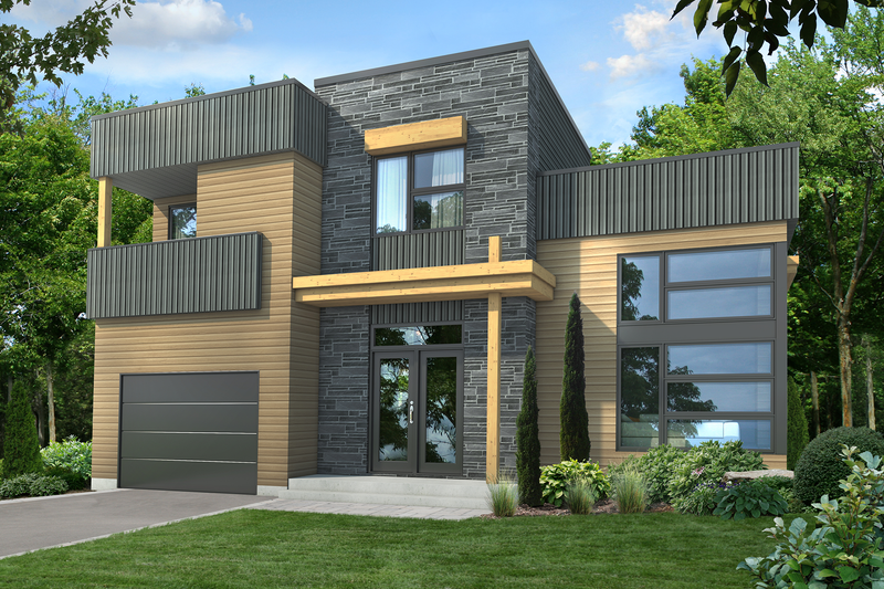 Modern Style House Plan - 2 Beds 1 Baths 1755 Sq/Ft Plan #25-4608 Exterior - Front Elevation
