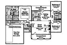 Southern style house plan, main level floorplan