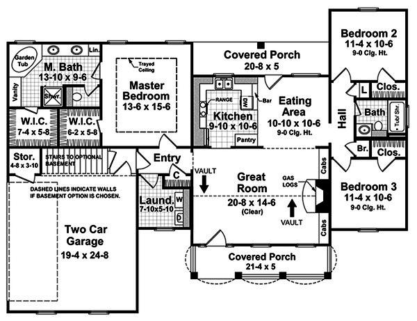 Home Plan - Southern style house plan, main level floorplan