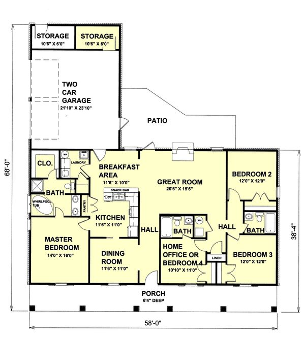 House Plan Design - Southern Floor Plan - Main Floor Plan #44-120