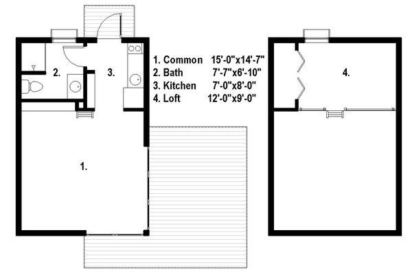 Modern Style House Plan - 1 Beds 1 Baths 525 Sq/Ft Plan #497-61 Floor Plan - Main Floor Plan