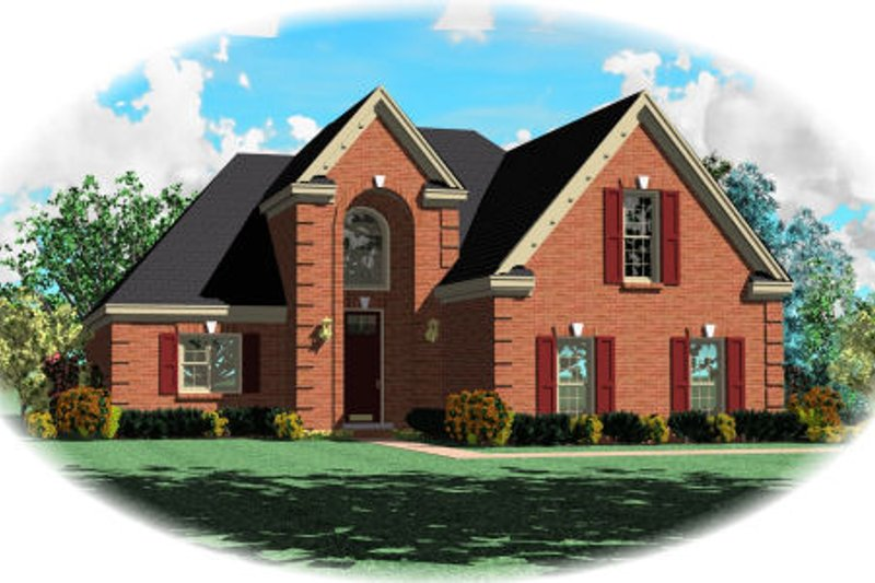 European Style House Plan - 3 Beds 3 Baths 2532 Sq/Ft Plan #81-13714 Exterior - Front Elevation
