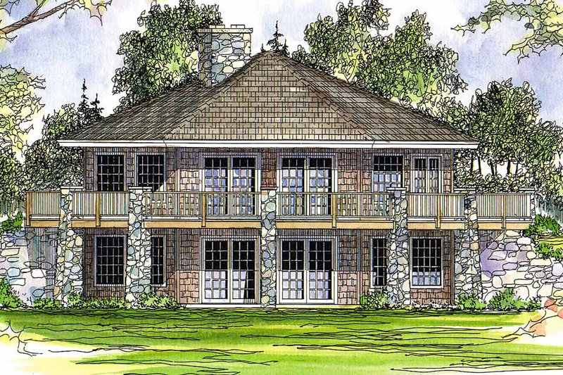 Craftsman Exterior - Rear Elevation Plan #124-186