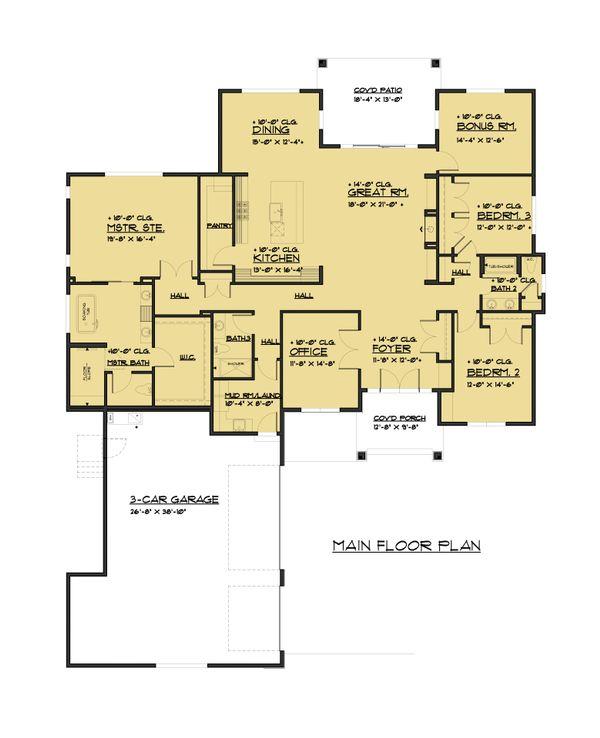 Architectural House Design - Traditional Floor Plan - Main Floor Plan #1066-85