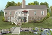 Country Style House Plan - 2 Beds 2.5 Baths 1500 Sq/Ft Plan #56-643 Exterior - Rear Elevation