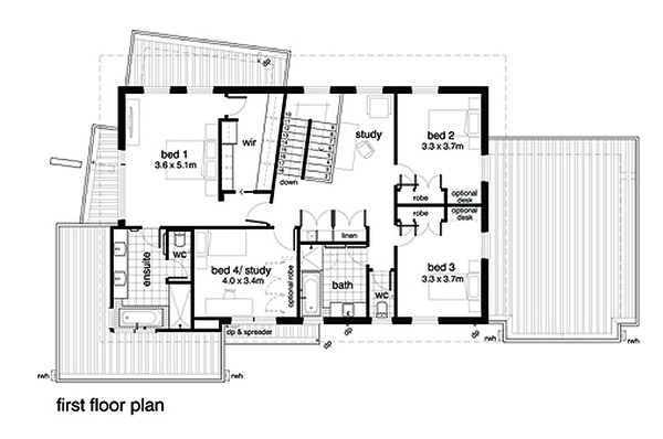 Modern Style House Plan - 4 Beds 2.5 Baths 3146 Sq/Ft Plan #496-19 Floor Plan - Upper Floor Plan