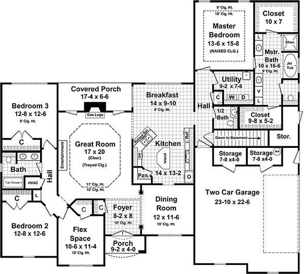 European Floor Plan - Main Floor Plan Plan #21-380