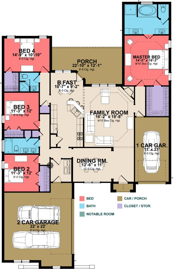European Floor Plan - Main Floor Plan Plan #63-251