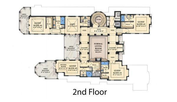 Mediterranean Floor Plan - Upper Floor Plan Plan #548-5