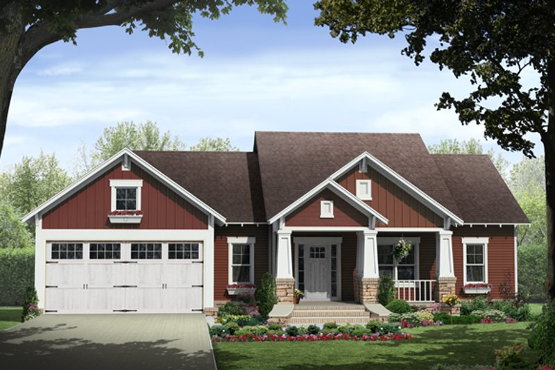 Craftsman Style House Plan - 3 Beds 2 Baths 1876 Sq/Ft Plan #21-358 Exterior - Front Elevation