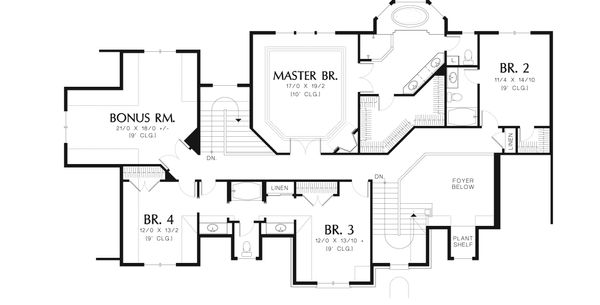 European Floor Plan - Upper Floor Plan Plan #48-617