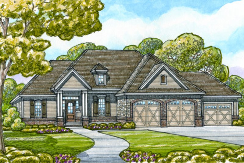 Craftsman Exterior - Front Elevation Plan #20-2129