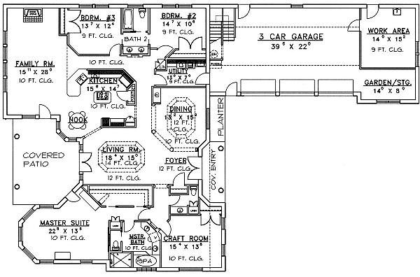 Mediterranean Floor Plan - Main Floor Plan Plan #117-523