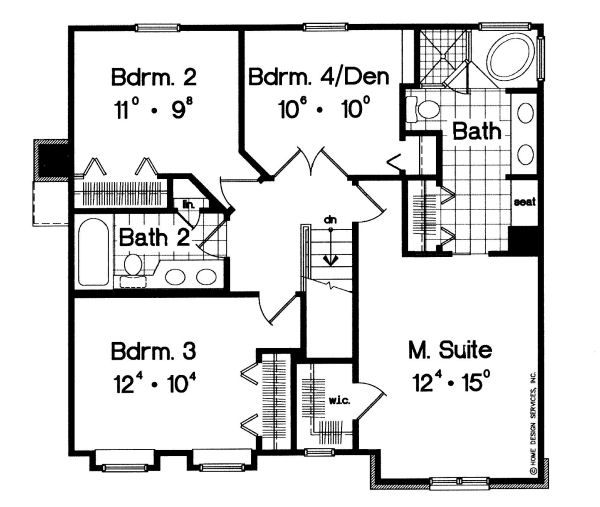 Traditional Floor Plan - Upper Floor Plan #417-164